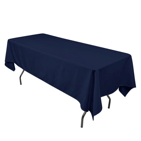 Navy  90 x 132 Rectangle Tablecloths  ( 90 inch x 132 inch )- Ribbons Cheap