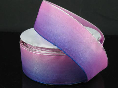 Ombre Ribbon Wired Edge Dark Purple Pink ( W: 1-1/2 inch | L: 25 Yards )