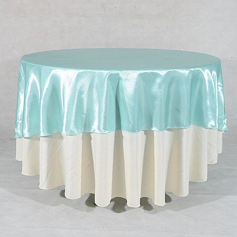 Aqua  108 Inch Satin Round Tablecloths  ( 108 inch | Round )- Ribbons Cheap