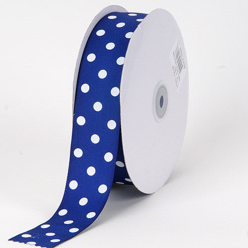 Grosgrain Ribbon Polka Dot Royal Blue with White Dots ( W: 3/8 inch | L: 50 Yards ) -