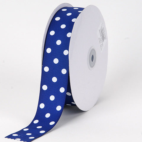 Grosgrain Ribbon Polka Dot Royal Blue with White Dots ( 7/8 inch | 50 Yards ) -