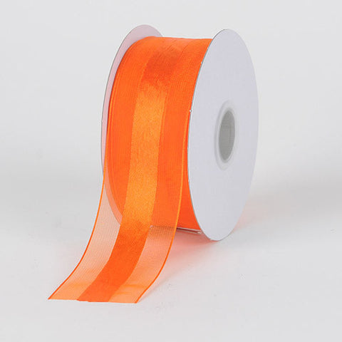 Organza Ribbon Satin Center Orange ( W: 5/8 inch | L: 25 Yards ) -