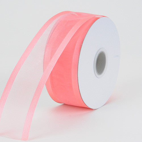 Organza Ribbon Two Striped Satin Edge Coral ( W: 3/8 inch | L:25 Yards ) -