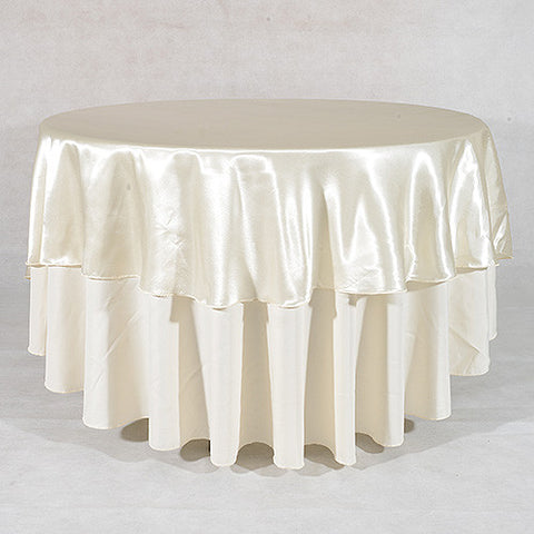 "Ivory  70"" Satin Round Tablecloths  ( 70 Inch )- Ribbons Cheap"