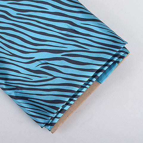 Animal Printed Satin Fabrics Turquoise ( W: 58 inch | L: 10 Yards ) - Ribbons Cheap
