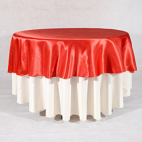 Red  108 Inch Satin Round Tablecloths  ( 108 inch | Round )- Ribbons Cheap