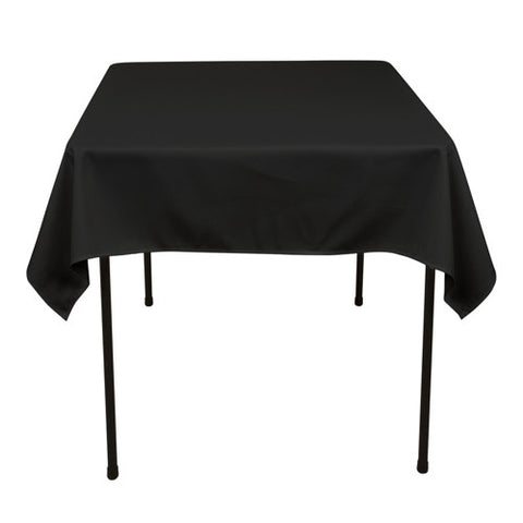 Black  52 x 52 Square Tablecloths  ( 52 Inch x 52 Inch )- Ribbons Cheap