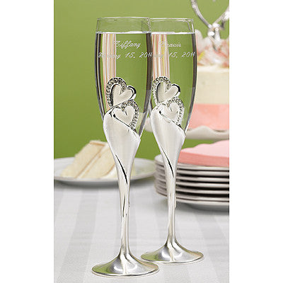 Wedding Toasting Flute Sparkling Love Flutes ( Set of 2 ) -