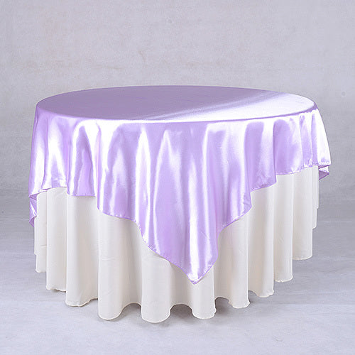 Lavender Satin Table Overlays - 90 Inch x 90 Inch For Birthday Wedding Party Decor