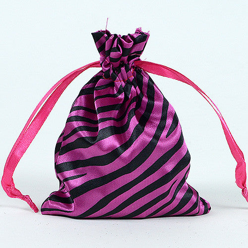 Animal Print Satin Bags Fuchsia ( 4x5 Inch - 10 Bags ) - Ribbons Cheap