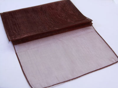 Organza Table Runners - 14 inch x 108 inches (Chocolate Brown)