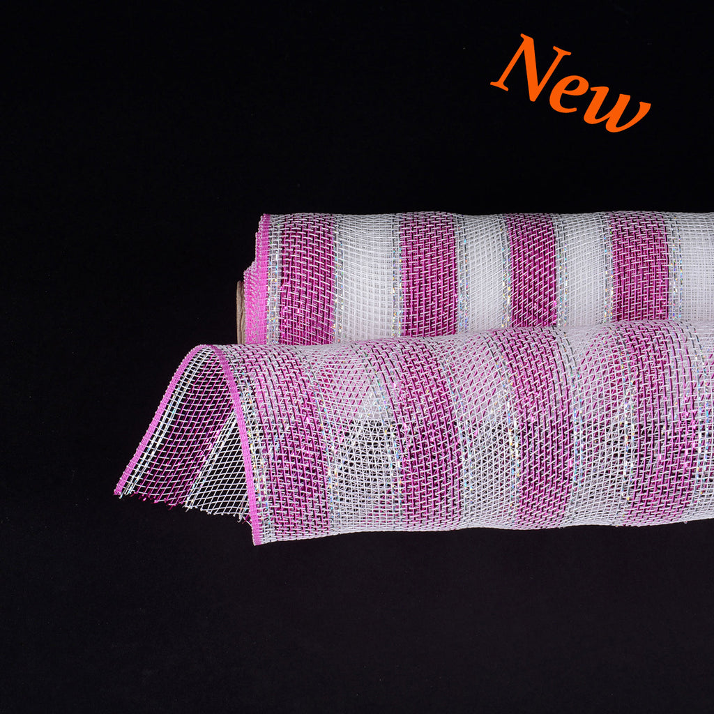 21 Inch X 10 Yards Poly Deco Mesh Wrap With Laser Mono Stripe - Fuchsia With Silver Lines