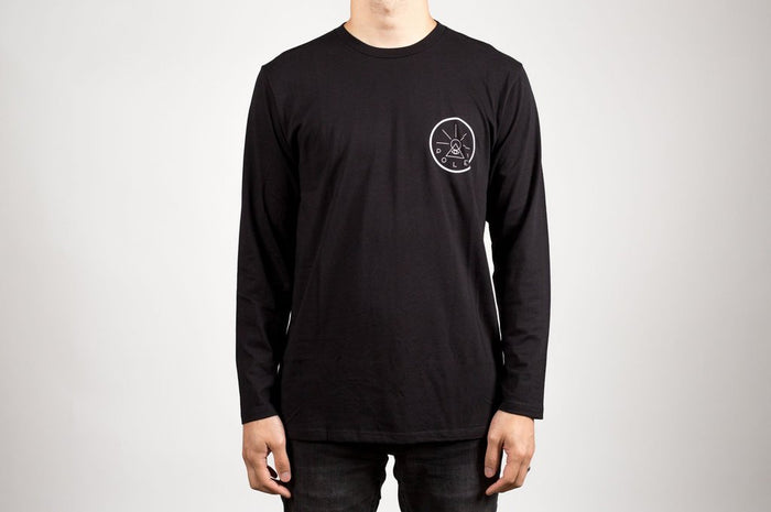 POLER APPAREL GOLDEN CIRCLE LONG SLEEVE TEE - BLACK