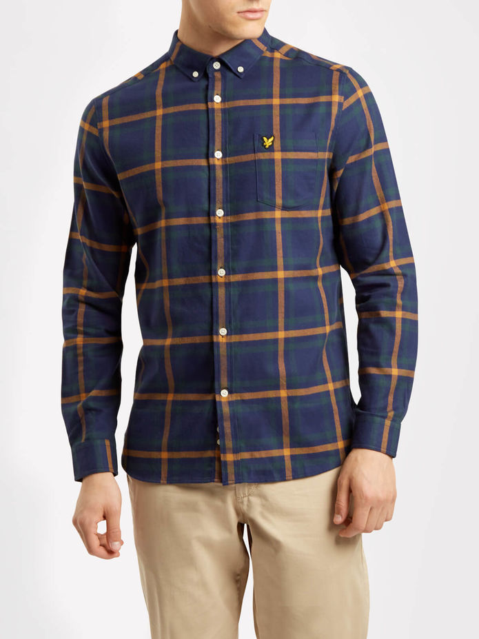 Lyle & Scott Check Flannel Shirt - Blue