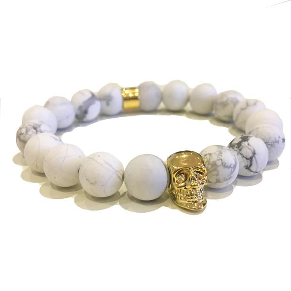 Midvs co The Kranion White Beaded Skull Bracelet - Gold