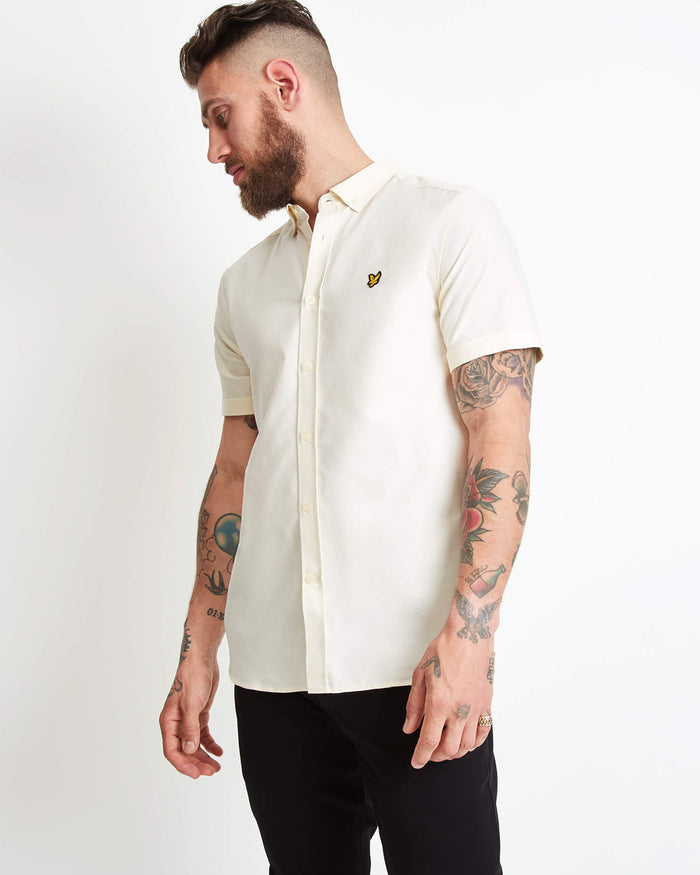 LYLE & SCOTT Short Sleeve Oxford Shirt - BUTTER CREAM
