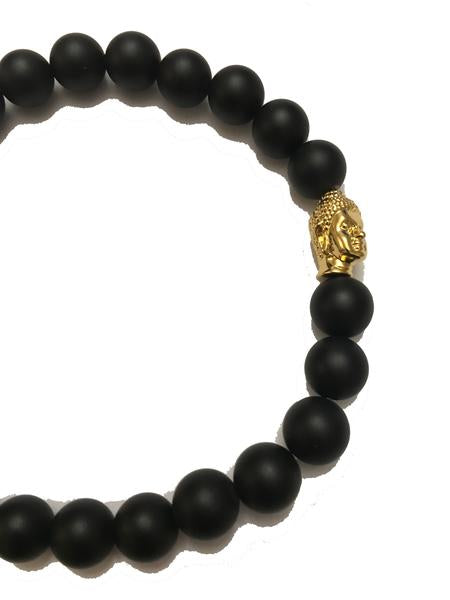 Midvs co The Nirvana Buddha Head Beaded Bracelet - Black / Gold