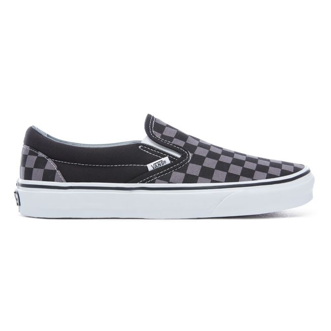 VANS CHECKERBOARD CLASSIC SLIP-ON SHOES - (Checkerboard) Black/Pewter