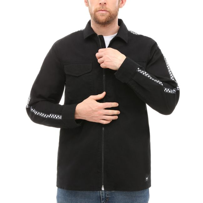 VANS CHECKER POINT LONG SLEEVE SHIRT -BLACK