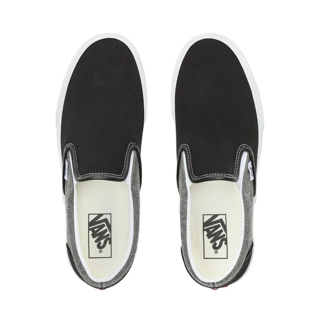 VANS CLASSIC SLIP-ON CHAMBRAY SHOES - Canvas Black/True White