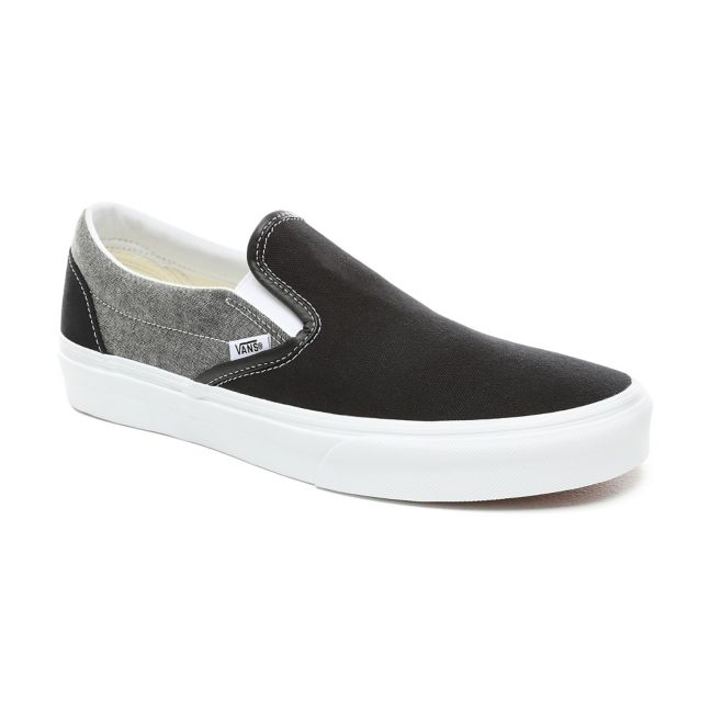 VANS CHAMBRAY CLASSIC SLIP-ON SHOES -(Chambray) Canvas Black/True White