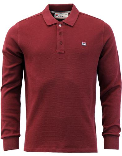 Fila Burtoni Long Sleeve Polo - Rum Raisin