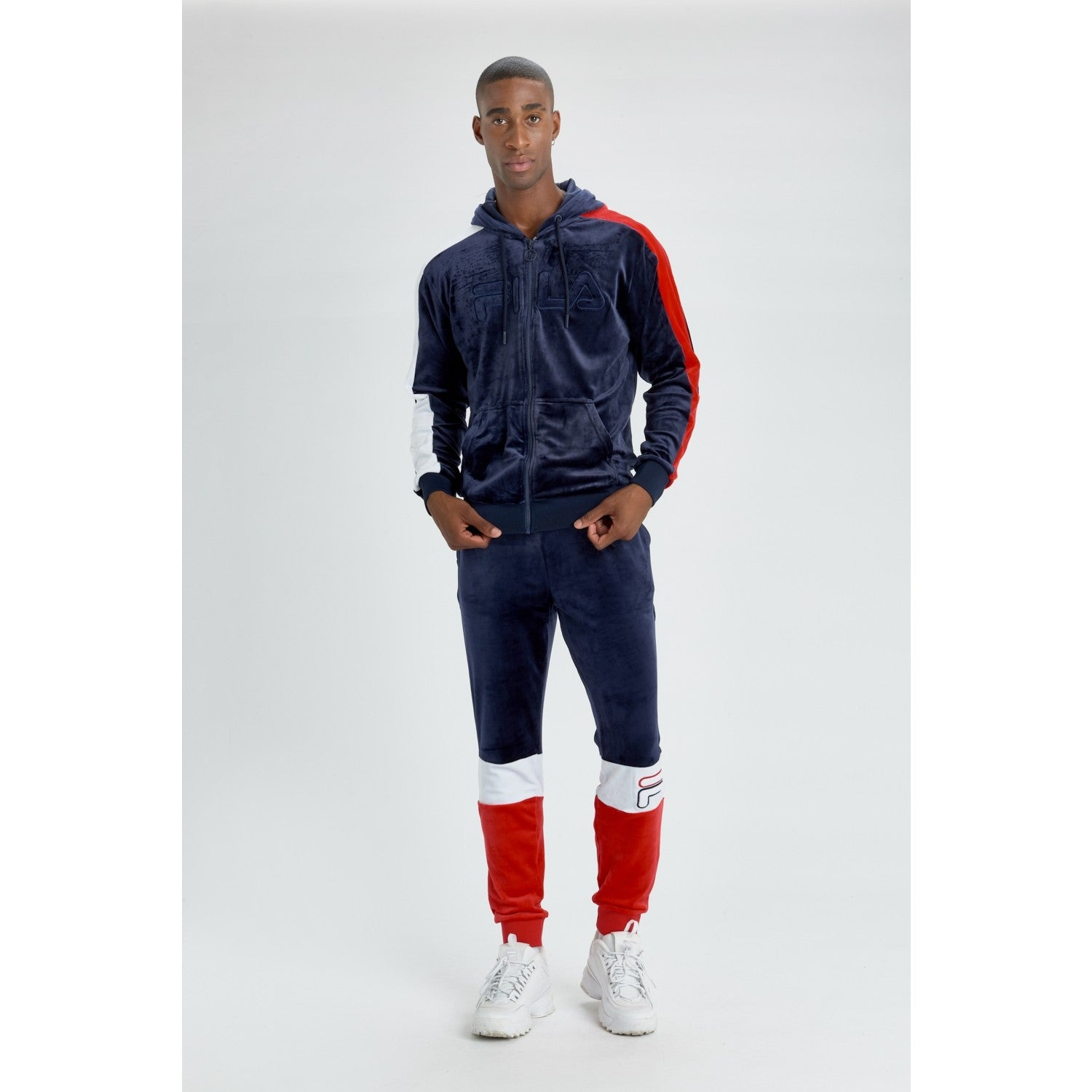 Fila Velour Full Zip Track Top- Navy/Red/White