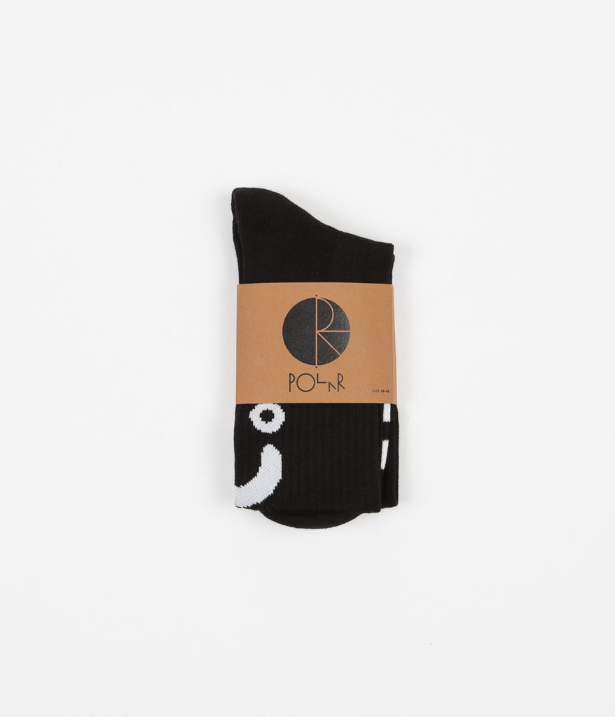 Polar Upside Down Happy Sad Socks - Black