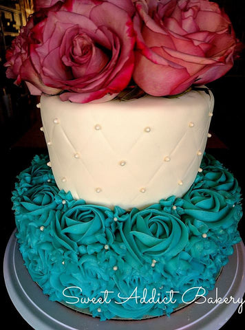 Two Tier Flower and Rosettes Cake