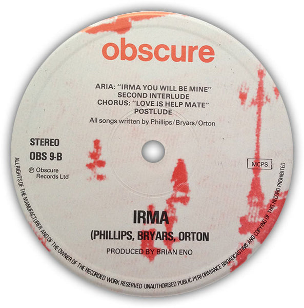 TOM PHILLIPS, GAVIN BRYARS, FRED ORTON – Irma . LP . Label 2