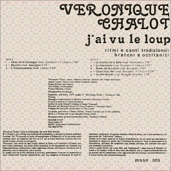 VERONIQUE CHALOT - J'ai vu le loup . LP