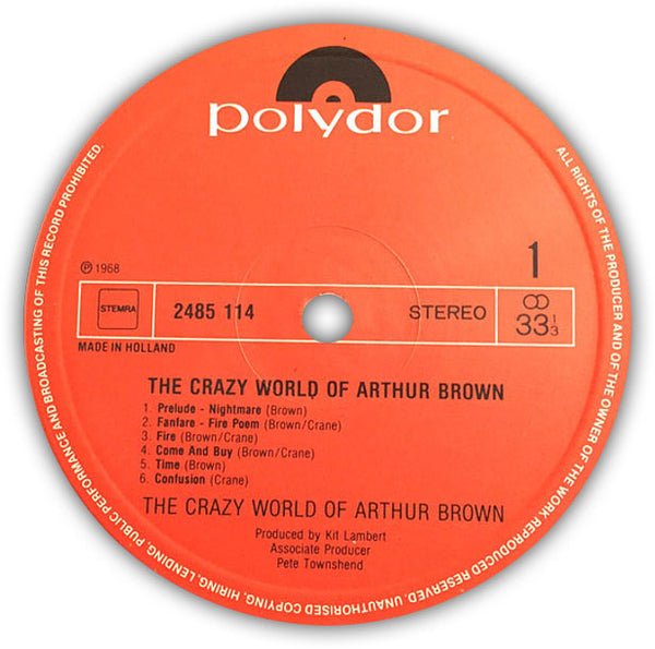 THE CRAZY WORLD OF ARTHUR BROWN – The Crazy World Of Arthur Brown . LP . Label 1