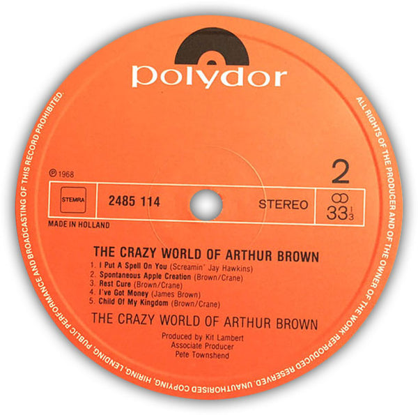 THE CRAZY WORLD OF ARTHUR BROWN – The Crazy World Of Arthur Brown . LP . Label 2