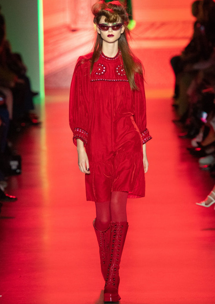 Anna Sui red dress tights and boots