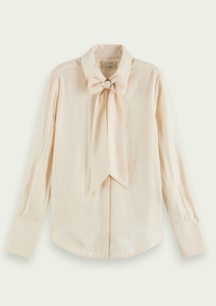 Ivory shirt with bow neck line