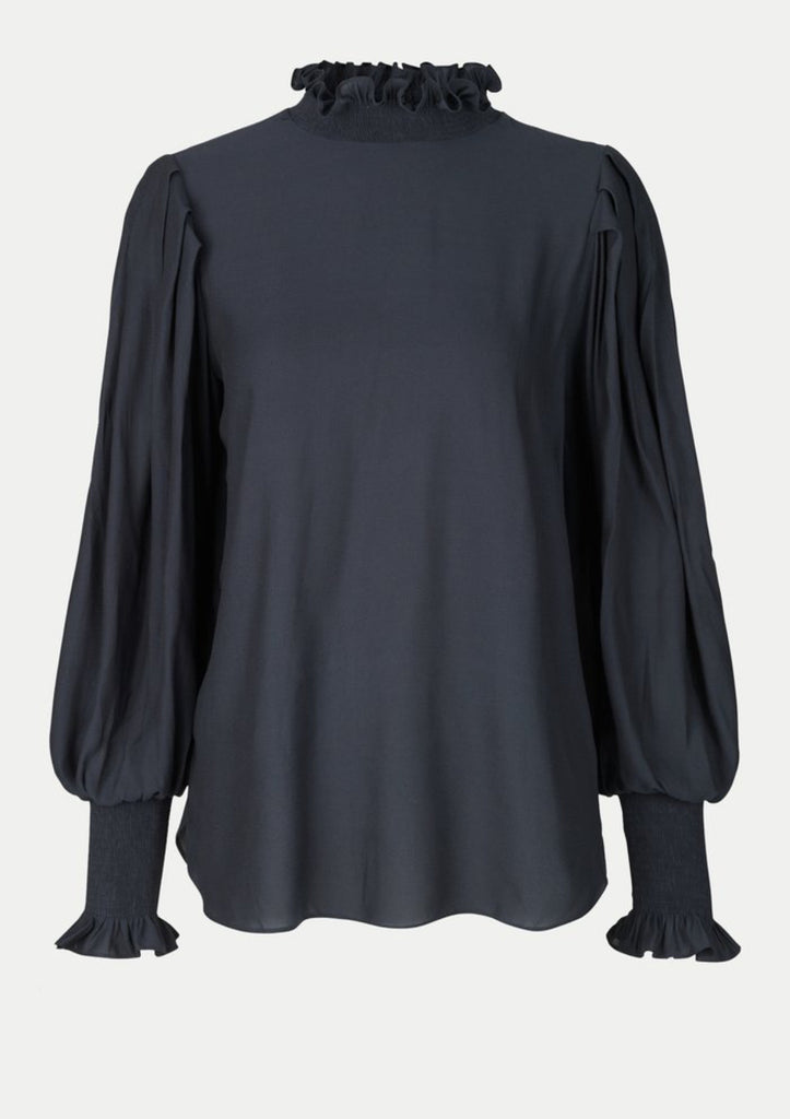 black silky blouse with a high neckline by second female