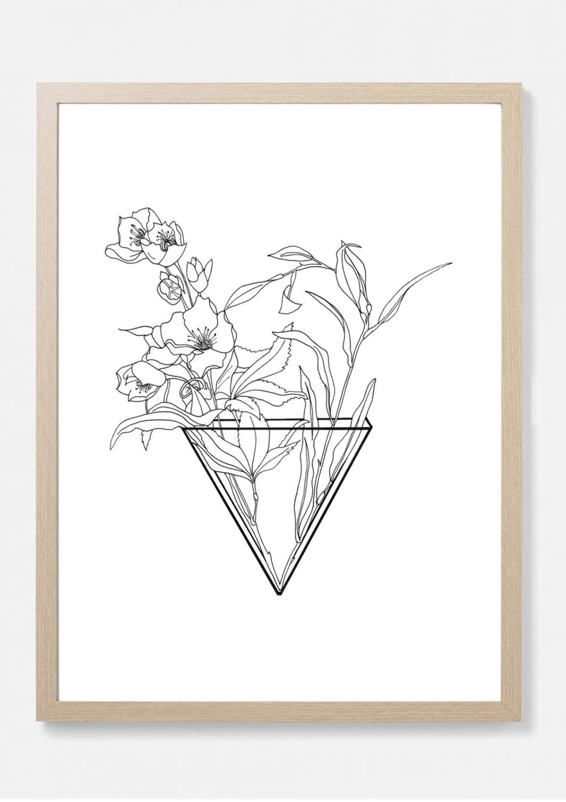 Hellabore botanical  vase print sketch
