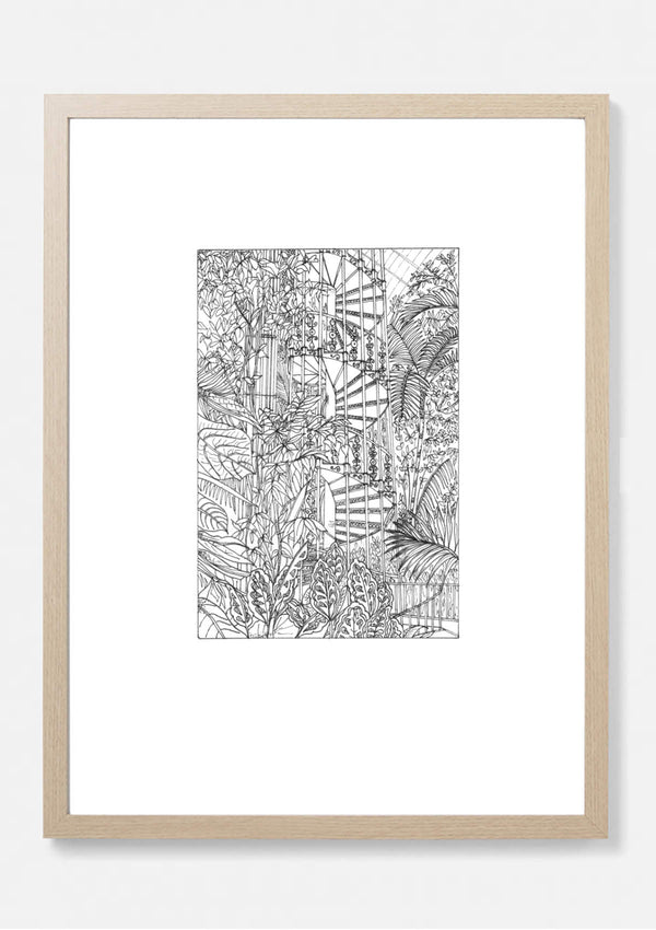 Spiral Staircase in Palm House Kew Gardens Art Print