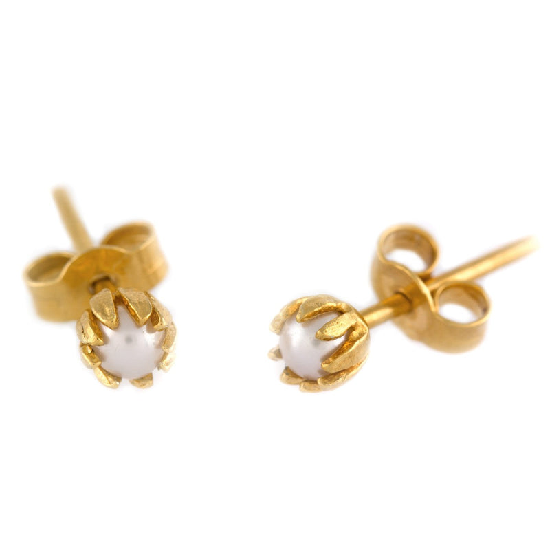 Alex Monroe Baby Pearl Chrysanthemum Stud Earrings