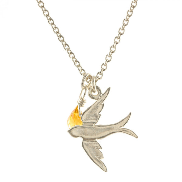 Alex Monroe Swallow Necklace with Citrine Briolette