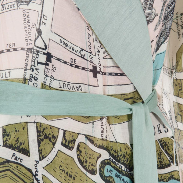 One Hundred Stars Paris Map Dressing Gown Tie Detail
