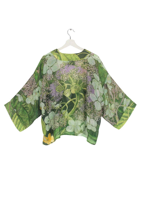 One Hundred Stars Kimono Jacket Lime Green Hydrangea Flower Print Reverse
