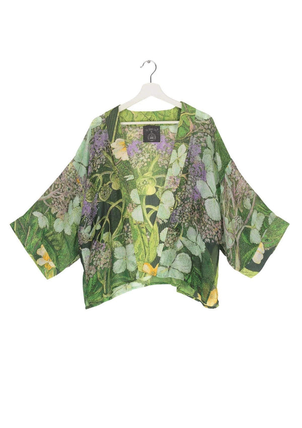 One Hundred Stars Kimono Jacket Lime Green Hydrangea Flower Print