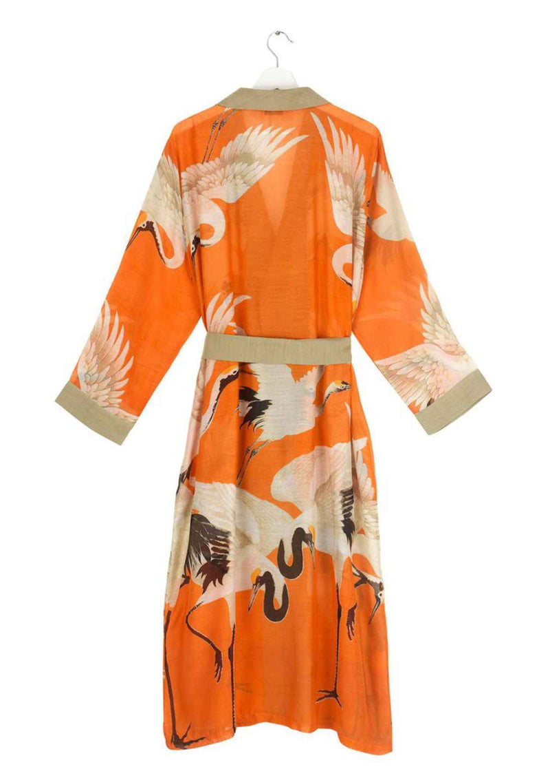 One Hundred Stars Stork Kimono Dressing Gown Orange