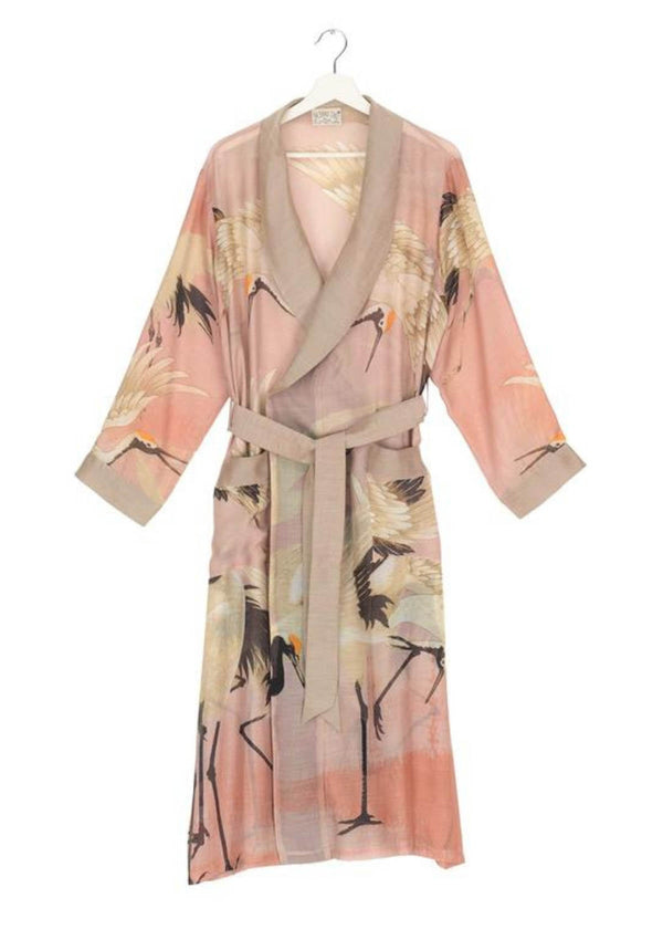 One Hundred Stars Stork Kimono Dressing Gown Plaster Pink