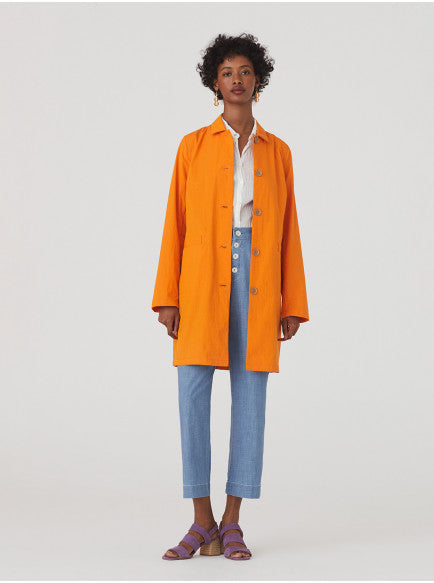 Bright orange womens trench coat / mac