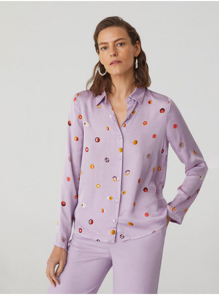 Lilac Purple Polka Dot Womens Shirt
