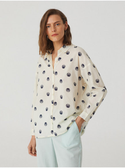 Nice Things Hatching Dot Print Shirt