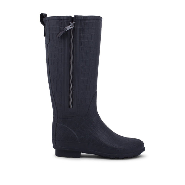 Woden Yrsa Croco Black Wellington Boots