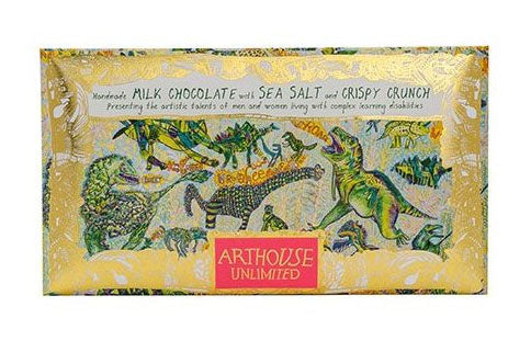 Arthouse Dinosaurs Handmade Milk Chocolate with Sea Salt and Crispy Crunch